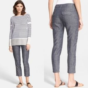 Vince Cargo Pants Linen Blend in Rise Wash Zipper